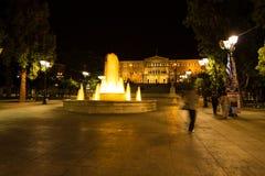 Quadrato di sintagma durante la notte, a Atene, la Grecia immagine stock