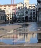 Quadrato di St Mark con alta marea a Venezia Italia Fotografia Stock