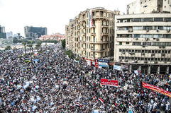 Quadrato di Tahrir durante la rivoluzione araba Fotografie Stock Libere da Diritti