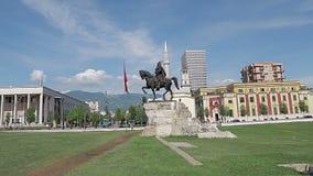Quadrato di Tirana Scanderbeg video d archivio