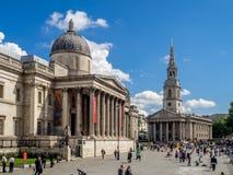 Quadrato di Trafalgar ed il National Gallery Immagine Stock Libera da Diritti