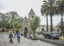 Quadrato di vecchio stile nella città di Arequipa nel Perù Fotografia Stock