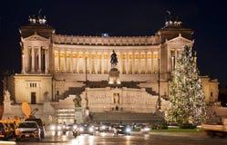 Quadrato di Venezia a Roma sulla notte prima del Natale Fotografia Stock