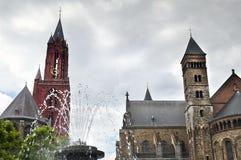 Quadrato di Vrijthof nella città di Maastricht, Paesi Bassi Fotografie Stock Libere da Diritti