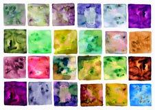 Quadrato disegnato a mano di colore dell'acquerello, sopra bianco Fotografia Stock