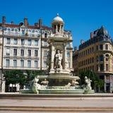 Quadrato e fontana del ` s di Jacobin a Lione Francia fotografia stock