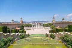 Quadrato e fontana di Espanya Fotografia Stock