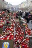 Quadrato e la gente di Wenceslas che danno il toHavel di tributo Fotografie Stock
