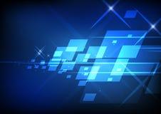 Quadrato e linea astratti su fondo blu illustrazione di stock