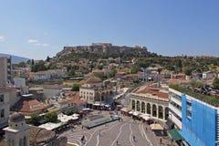 Quadrato famoso di Monastiraki, Atene Grecia fotografia stock libera da diritti