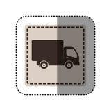 quadrato monocromatico dell'autoadesivo con il camion Fotografia Stock Libera da Diritti