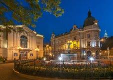 Quadrato prima del teatro polacco e della posta centrale in Bielsko-Biala, Polonia Immagini Stock Libere da Diritti