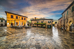 Quadrato principale di Monteriggioni Fotografia Stock Libera da Diritti