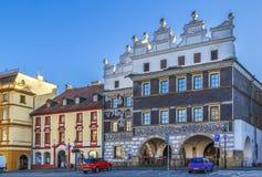 Quadrato principale in Litomerice, repubblica Ceca Fotografia Stock