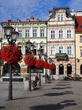 Quadrato principale nel centro urbano storico di Bielsko-Biala in Polonia Immagine Stock Libera da Diritti