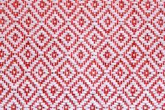 Quadrato rosso del tessuto a mano della Tailandia Fotografia Stock Libera da Diritti