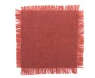 Quadrato sfilacciato del tessuto sopra bianco Fotografia Stock