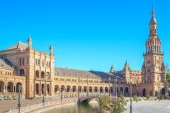 Quadrato spagnolo (Plaza de Espana) a Sevilla fotografia stock