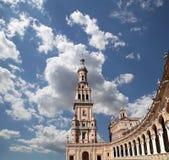 Quadrato spagnolo in Siviglia, Andalusia, Spagna Vecchio limite Fotografia Stock Libera da Diritti