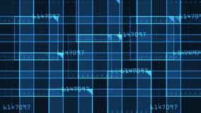 quadrato virtuale di numero 4k, linee di tecnologia di scienza, fondo di esame di griglia della matrice stock footage