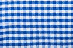 A quadretti blu di struttura del cotone Immagini Stock Libere da Diritti