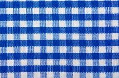 A quadretti blu di struttura del cotone Fotografia Stock Libera da Diritti
