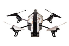 Quadri-copter drone. A quad copter spy drone isolated over a white background royalty free stock photography
