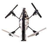Quadricopter drone. A quad copter spy drone isolated over a white background stock photos