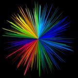Quadrieren Sie helle Mitte des schwarzen Hintergrundes Stockbilder