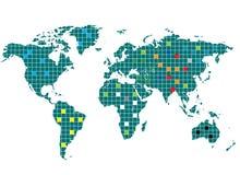 Quadrierte Weltkarte Lizenzfreies Stockfoto