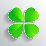 Quadrifoglio per verde tre di felicità di fortuna Immagini Stock