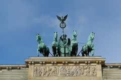 Quadriga. On top of the Brandenburger Tor in Berlin royalty free stock photography