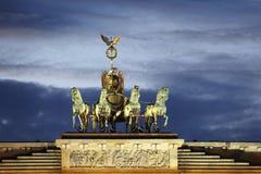Quadriga on Brandenburg Gate. The Brandenburg Gate is Situated on top of the Brandenburg Gate in Berlin (Germanys Capital), Germany, Europe Stock Photography