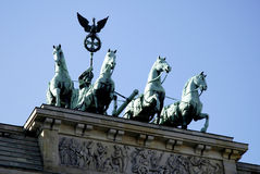 Quadriga at the Brandenburg Gate in Berlin. The Quadriga at the Brandenburg Gate in Berlin stock image