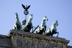 Quadriga at the Brandenburg Gate in Berlin.  royalty free stock image