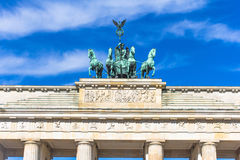 Quadriga of the Brandenburg Gate in summer. Berlin, Germany Royalty Free Stock Images