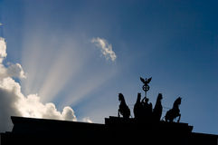 Quadriga and Clouds Stock Photo