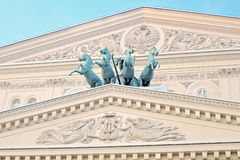 Quadriga of horses on the roof of Bolshoy theater building in Moscow. Royalty Free Stock Images