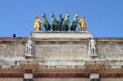 Quadriga over the Arc de Triomphe du Carrousel in Paris Stock Photo