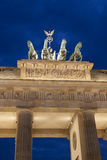 Quadriga Sculpture by Gottfried on Brandenburg Gate; Berlin. Quadriga Sculpture by Gottfried on Brandenburg Gate in Berlin; Germany; Europe Illuminated at Night royalty free stock photo
