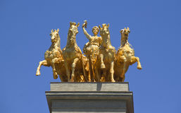 Quadriga Statue in Barcelona Stock Image
