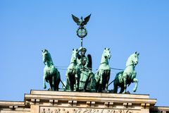 The Quadriga on top of the Brandenburg gate, Berlin.  royalty free stock images