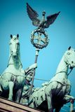 The Quadriga on top of the Brandenburg gate, Berlin.  stock images