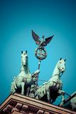 The Quadriga on top of the Brandenburg gate, Berlin.  royalty free stock photo