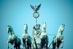 The Quadriga on top of the Brandenburg gate, Berlin.  stock image