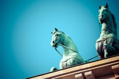 The Quadriga on top of the Brandenburg gate, Berlin.  royalty free stock photography