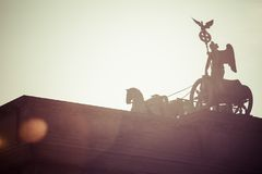 The Quadriga on top of the Brandenburg gate, Berlin Royalty Free Stock Photography