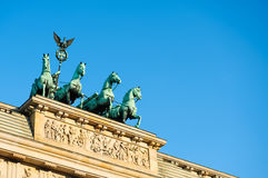 Quadriga on top of Brandenburg Gate in Berlin, text space Royalty Free Stock Photography
