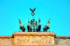 Quadriga on top of the Brandenburger tor. In Berlin, Germany royalty free stock photo