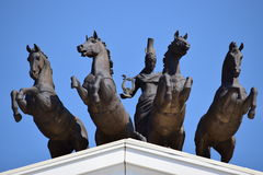 Quadriga on the top of the New Opera in Astana Stock Photos